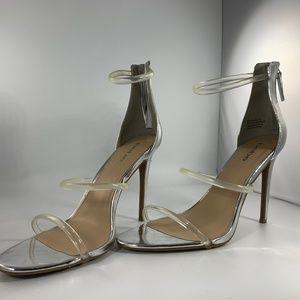 BEBE Silver Heels Berdine Clear Straps Size 11